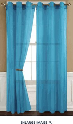 short?  --Sheer Neon Blue Gommet Window Curtain Panel