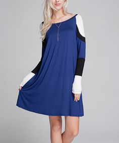 Another great find on #zulily! Navy & White Color Block Shift Dress #zulilyfinds