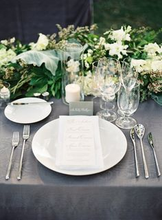 Elegant Gray and White Place Settings - Gray Wedding Inspiration Table Place Settings, Wedding Place Settings, Elegant Table Settings, Wedding Themes, Wedding Decorations, Table Decorations, Wedding Ideas, Table Garland, Wedding Inspiration