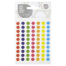Wilko 560 Sticky Dots Assorted Colours