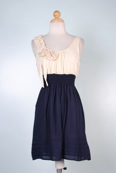 Navy and Cream Lace Embellished Ruffle Floral Dress with Elastic Waist-