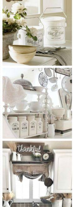 GORGEOUS white country kitchen ideas - perhaps farmhouse kitchen decor or maybe even shabby chic?
