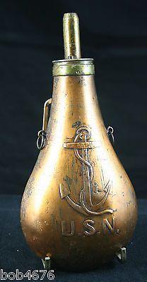 RARE U s N Navy 1846 Adams Brass Powder Flask J s P Inspector w Period Lanyard   eBay