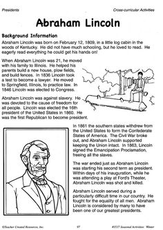 Abraham Lincoln Worksheets For Kindergarten