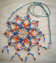 Rainbow Warrior Micro Macramé Medicine Mandala Necklace with Amethyst and Rainbow Glass Beads  etsy store www.etsy.com/au/shop/LifeLovesMe  or see www.instagram.com/ilovelife.n.lifelovesme