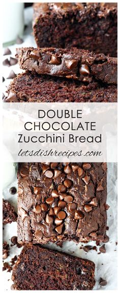 Double Chocolate Zucchini Bread Recipe: This decadent chocolate bread is studded with chocolate chips and loaded with fresh zucchini. The best zucchini bread you'll ever make! #bread #zucchini #chocolate #recipes