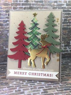 LOVE the Santa's Sleigh Thinlits. See what is shimmery on this card - besides the reindeer. #stampinbj.com