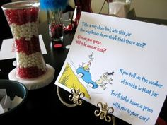 Dr. Seuss birthday or baby shower: cat in the hat jelly bean guessing game