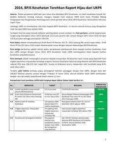 Info: BPJS Kesehatan Torehkan Raport Hijau dari UKP4 by BPJS Kesehatan RI via slideshare