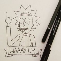 """Waaay up, Morty"" Rick Sanchez((Rick and Morty)) Rick Und Morty Tattoo, Rick And Morty Drawing, Easy Drawings, Doodle Art, Drawing Sketches, Doodles, Anime, Artwork, Funny Images"