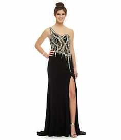 JVN by Jovani One-Shoulder Illusion Beaded Gown | Dillard's Mobile