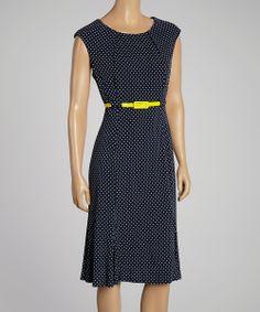 Navy & White Polka Dot Belted Dress | zulily