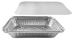 Pactogo 2 lb. Oblong Aluminum Foil Take-Out Pan with Board Lid Disposable Containers 8.44