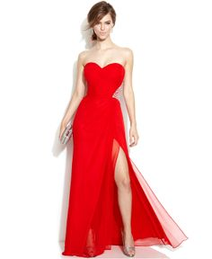 Xscape Strapless Embellished Cutout Gown - Juniors Dresses - Macy's