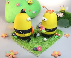 Unique wedding cake topper Bees  Custom clay bride by PassionArte, $129.00