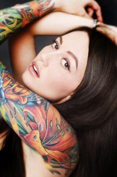 portrait photography, sleeve tattoos, girl tattoo, flower tattoos, portraits, flowers, sleeves, tattoo sleev, ink
