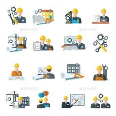 Engineer Icon Flat by macrovector Engineer construction equipment machine operator managing and manufacturing icons flat set isolated vector illustration. Editable