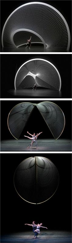 Santiago Calatrava for New York City Ballet I love the use of soft shadows on this piece. I think this is lit by Fresnel lighting, but correct me if I'm wrong. Santiago Calatrava, Stage Set Design, Set Design Theatre, Futuristic Architecture, Chinese Architecture, Architecture Office, Conception Scénique, Ville New York, City Ballet