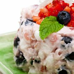 love this take on Ambrosia Salad - a great way to use up all the leftover strawberries and blueberries from July 4th. Triple the strawberries and half the marshmallows - quick and inexpensive way to whip up something special for a potluck.