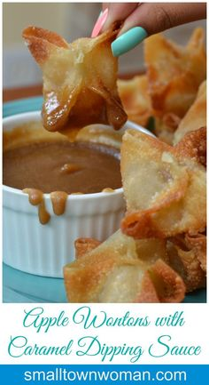 These Apple Wontons with Caramel Dipping Sauce are the bomb. I can not and will… These Apple Wontons with Caramel Dipping Sauce are the bomb. I can not and will not be responsible for you eating too many of them. Just Desserts, Delicious Desserts, Dessert Recipes, Yummy Food, Deep Fried Desserts, Apple Desserts, Health Desserts, Apple Recipes, Fall Recipes
