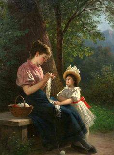 """"""" Idilio en el bosque """"                     - """" Idylle in wald """"                                -            Rudolf Epp (1834-1910)          -            Pintor realista alemán de Eberbach. Escuela de Munich"""