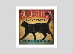 Black Cat Pepper Kitchen Art Print Graphic Art by by nativevermont