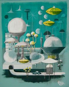 Futuristic - El Gato Gomez Art God I love this stuff. Mid Century Modern Art, Mid Century Art, Kandinsky, Futurism Architecture, Atomic Decor, Vintage Space, Retro Vintage, Futuristic Art, Retro Illustration