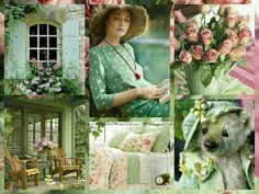 My Dream Cottage Love Collage, Beautiful Collage, Beautiful Images, Rose Cottage, Cottage Style, Shades Of Green, Pink And Green, Collages, Green Theme