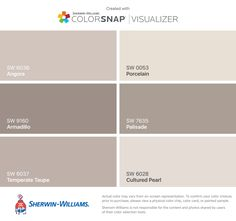 I found these colors with ColorSnap® Visualizer for iPhone by Sherwin-Williams: Angora (SW 6036), Armadillo (SW 9160), Temperate Taupe (SW 6037), Porcelain (SW 0053), Palisade (SW 7635), Cultured Pearl (SW 6028).