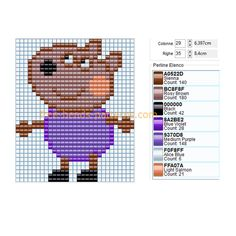 Danny Dog Peppa Pig cartoon free perler beads pattern Hama Beads design