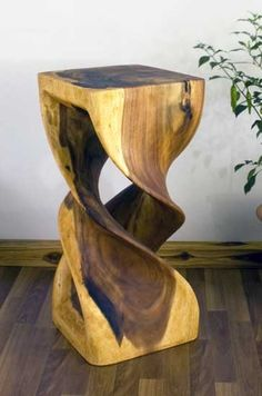 Double Twist Stool x Tung OIl Finish Hand Carved Wood Unique Furniture, Home Decor Furniture, Rustic Furniture, Wood Stool, Wood Table, Wood Projects, Woodworking Projects, Articles En Bois, Wood Slab
