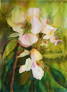"""Painting on silk """"Apple blossom"""" Wall hanging Batik  Panel Panno Wall ART Picture on silk Textile ART by ArtbyLora on Etsy"""