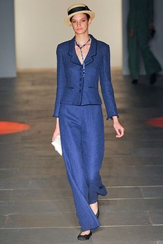 Such a fabulous navy blue suit. #Caroline #Charles #NYFW