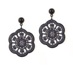 Lokalwear Daisy Lace Earrings - Charcoal ($52) ❤ liked on Polyvore