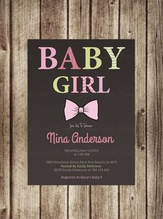 Baby Girl,Baby shower Invitation Girl , Bow Tie Girl Shower,Bow tie,Typography. It's A Girl, Chevron,Digital, Printable