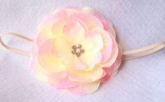 Baby headbandLight pink and beige by PandiAccessories on Etsy, $10.95
