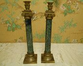 2, Brass and Green Marble Look Candlesticks- Made In India