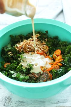 30-minute kale salad with kumquats, toasted bread crumbs, chia seeds, and a creamy tahini-maple dressing! A healthy, quick plant-based side dish.