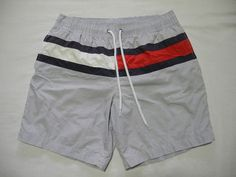 3defb5ac74 Vtg Tommy Hilfiger Swim Trunks Big Flag Quality Swimwear Pinstripes Medium