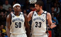 March 29, 2013 - Memphis Grizzlies forward Zach Randolph (50) and Memphis Grizzlies center Marc Gasol, of Spain, (33) talks on their way to a timeout at the FedExForum Friday evening. (Nikki Boertman/The Commercial Appeal)