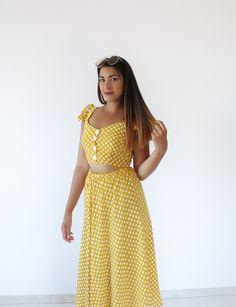 Σετ Yellow Retro Polka Dot -Top+Skirt Set BLUSHGREECE Co Ord, Polka Dot Top, Skirt Set, Summer Dresses, Retro, Yellow, Tops, Fashion, Moda
