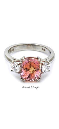 Rosamaria G Frangini | High Pink Jewellery | Platinum Padparadscha Sapphire and Diamond Trilogy Ring
