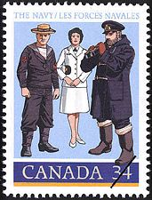 Canadian Postal Archives Database    Postal Administration: Canada     Title: The Navy     Denomination: 34¢     Date of Issue: 8 November 1985