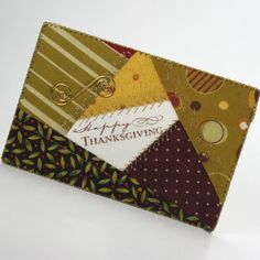 Quilted Fabric Postcard  Happy Thanksgiving by FabricGreetings, $9.75