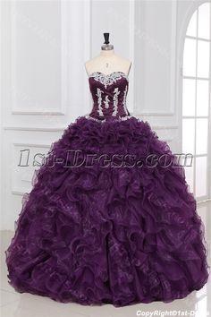 Luxurious Grape Puffy Quinceanera Dresses:1st-dress.com