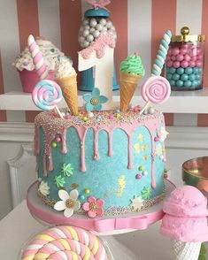70 Best Ideas For Kids Birthday Party Decorations Candy Land Candy Theme Birthday Party, Donut Birthday Parties, Baby Birthday Cakes, Candy Party, Birthday Party Decorations, 1st Birthday Girl Party Ideas, Candy Theme Cake, Ice Cream Birthday Cake, Baby Girl First Birthday