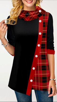 Womens Casual Tops Plaid Print Asymmetric Hem Button Front T Shirt Trendy Tops For Women, Blouse Styles, Shirt Sale, Trendy Dresses, Casual Tops, Long Sleeve Sweater, Cool Shirts, Casual Outfits, Tunic Tops