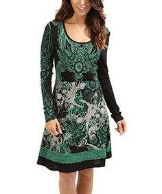 Joe Browns Women's New Enthralling Entrance Long Sleeved Dress Green/Black (16) Joe Browns http://www.amazon.co.uk/dp/B00N79XR4M/ref=cm_sw_r_pi_dp_mYwuub04QK4KA