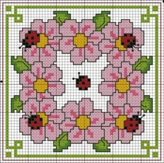 free cross stitch chart (Convert to penny rug pattern) Cross Stitch Boards, Just Cross Stitch, Cross Stitch Animals, Cross Stitch Flowers, Biscornu Cross Stitch, Free Cross Stitch Charts, Cross Stitch Embroidery, Hand Embroidery, Cross Stitch Designs