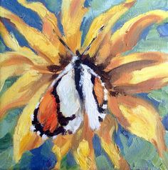 Butterfly and Balsamroot Canvas - Studio wrap 3/4 Oil Paintings Floral-Flowers Impressionism, by Kindrie Grove